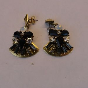 J Crew Black Drop Statement Earrings